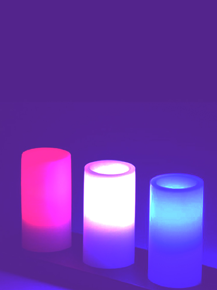 VELAS LED PARAFINA (KIT C/ 3) - MULTI COLOR CONTROLE REMOTO